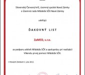 Ďakovný list SČK 2012