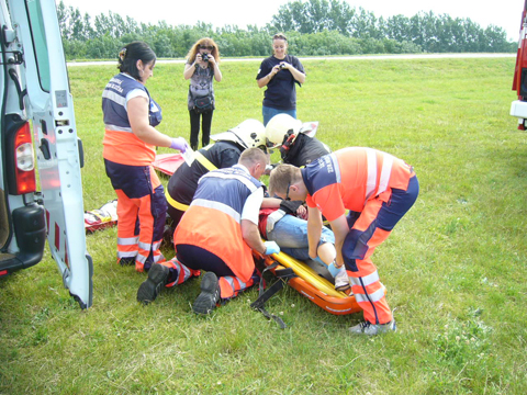 Transport raneného - taktické cvičenie Šamorín